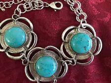 Vintage -Turquoise Faux /Silvertone Bracelet