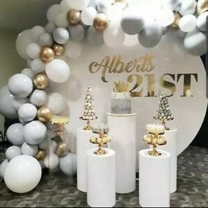 Personalised Acrylic Backdrop, Balloon Garland, Plinths & Baby Blocks Event Hire