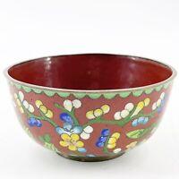 Antique Chinese Cloisonne Enamel Copper Trinket Rice Bowl Floral Flowers Vine