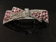 Pinza de Pelo Pasador Pasador de pelo Cristal Brillante Bebé Rosa de Cristal de Plata Elegante - 1