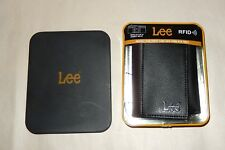 Lee Men's Pebble Textured Leather RFID Blocking Trifold Wallet, Black/Brown