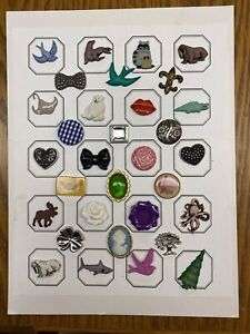 From Estate of Avid Button  Collector 32 Novelty Buttons on Button Board SKU 601
