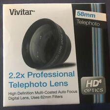 Vivitar 2.2X 58mm Pro Telephoto Lens For 58mm Lens HD4 Optics New In Box NIB