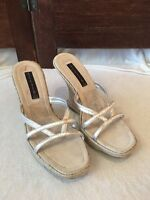 Steven By Steve Madden Wedge Sandals Silver Open Toe Strappy Leather Size 9 M