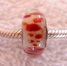 Authentic Chamilia Siena Collection Felice Red & White Murano Glass Bead 2010