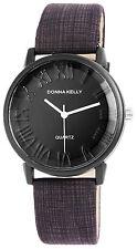 Donna Kelly Black Clock Trendy Women Watch analoge Pu Leder Damenuhr Quartz Neu