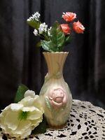 "Lenox Ivory Handcrafted 3D Raised Pink Rose Ribbed Bud Vase W/ Gold Gild ~ 5"""