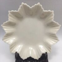 "Vintage 6"" Belleek Irish Porcelain-Leaf Star Shape Crimped Dish Hexagon Teaware"