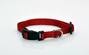 """NEW 3/8"""" Wide Nylon Dog Collar Red Size X-Small 7 - 12"""" Neck"""