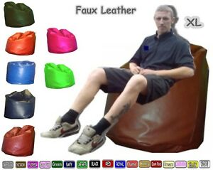 Adults Classic Faux Leather Giant Bean Bags X Large 80 x 80 x 110 cm Filled.