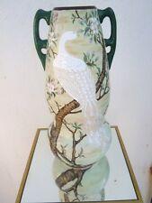 Vase céramique décor japonisant oiseau cerisier fleurs époque 19ème