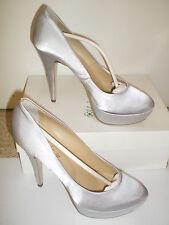 scarpa decolletè cerimonia plateau raso grigio perla argento silver heels num 39