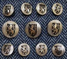 Silver Blazer Buttons Set Rampant Lion with Herringbone Background