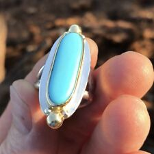 Ladies Womens Turquoise Ring in 925 Sterling, Fine Silver, 18k Gold Size 7.5