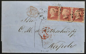 MALTA 1861 Auslandsbrief nach NAPOLI frankiert Großbritannien 3-er Streifen 1 P