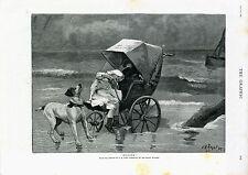Smooth Fox Terrier enfant en danger magazine graphique page impression antique