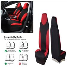 High Back Bucket Car Front Seat Cover Red/Black Fabric Foam Padding Washable