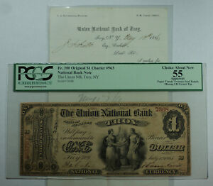 1865 $1 Troy New York NY Union National Bank CH# 963 Fr. 380 PCGS 55 w/ Note