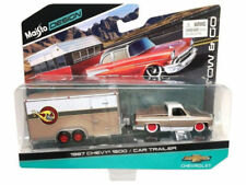 Maisto 1/64 Tow & Go 1987 Chevrolet 1500 Pickup Truck With Car Trailer 15368-P
