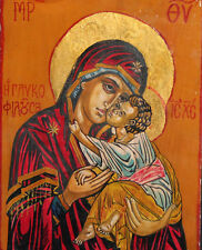 The Virgin Mary Christ Child Tempera on Wood Hand Painted Orthodox Icon