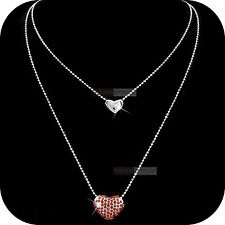 pendant necklace 18k white gold made with SWAROVSKI crystal double hearts red