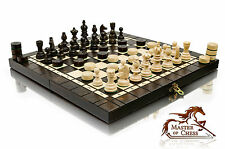 """SUPERB """"OLYMPIC"""" TOURNAMENT WOODEN CHESS SET + DRAUGHTS 35x35cm!"""