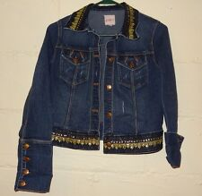 Junior Womens Candie's Jean Jacket Size M Bling Military Denim Gold Sequin