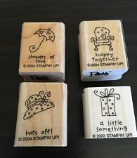 Wood Rubber Stamps Stampin Up 4 Saying Stamps Rb-1