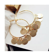 Women's Fashion Jewelry metal Gold Plated Big Round Circle Dangle Hoop Earrings