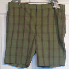 Nos Vintage 70s Campus Plaid Walk Shorts 44 with Tags