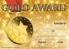 30 Gold Award certificates for school teachers, A5 silk finish card