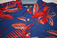 Tommy Hilfiger Mens Red Blue Short Sleeve Hawaiian Floral Camp Shirt Size XL