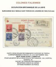 British Occupation Lybia covers 1943 censored R-Red Cross PC Tripoli Scarce!