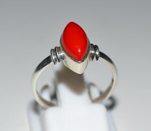Red Coral 925 Solid Sterling Silver Midi Handmade Ring (US-CRL-001)