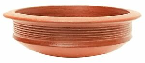 Unglazed Terracotta Clay Pottery Mud Pot/Earthen Handi Cooking Serving Red 4 L