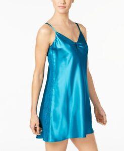 $160 Thalia Sodi Women'S Teal Blue Lace Panel Cinched V-Neck Chemise Slip Size L