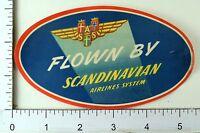 1940's-50's Scandinavian Airlines Vintage Original Luggage Label Poster Stamp E9