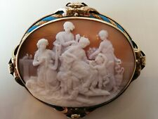 Cameo Brooch (Faberge Like Quality) Exceptionally Detailed Turquoise Enamel Gold