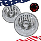 7 Inch Round Red Halo Front Clear Lens Diamond Cut Chrome Headlights Angel Eyes