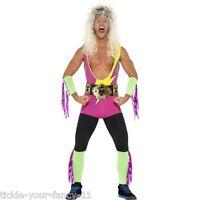 Mens Retro Wrestler Costume Fancy Dress Stag Hulk Hogan WWE Lycra Title Belt Fun