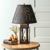 MILKHOUSE new rustic tin 3 way table lamp w/ Willow shade