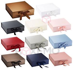 Gift Box With Ribbon, Magnetic Gift Box, Boxes, Square Box, Ribbon Box,Large Box