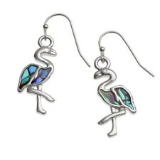 Flamingo Fashionable Earrings - Fish Hook - Abalone Paua Shell