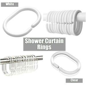 White Shower Curtain Rings Hooks Bathroom Plastic Strong Pole Rail Guide Hanger