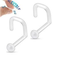 2 PC 18G CLEAR NOSE SCREW BIOFLEX FLEXIBLE BALL HIDE BODY PIERCING RETAINER RING