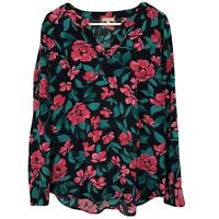 Talbots Women's Pink Green Floral V Neck Long Sleeve Top Medium