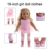 Handmade Pink Doll Clothes Ballet Dress Fit For 18 Girl Dolls Baby Inch Sal M8L5