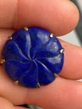 Vintage Tested Silver Beautiful Carved Lapis Flower Silver Brooch