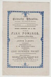 "ANTIQUE VICTORIAN ERA THEATRE PROGRAMME ""Pink Dominos"" Comedy Theatre"