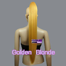 Golden Blonde 65cm Heat Resistant Cosplay Straight Clip-On Ponytails 3_953